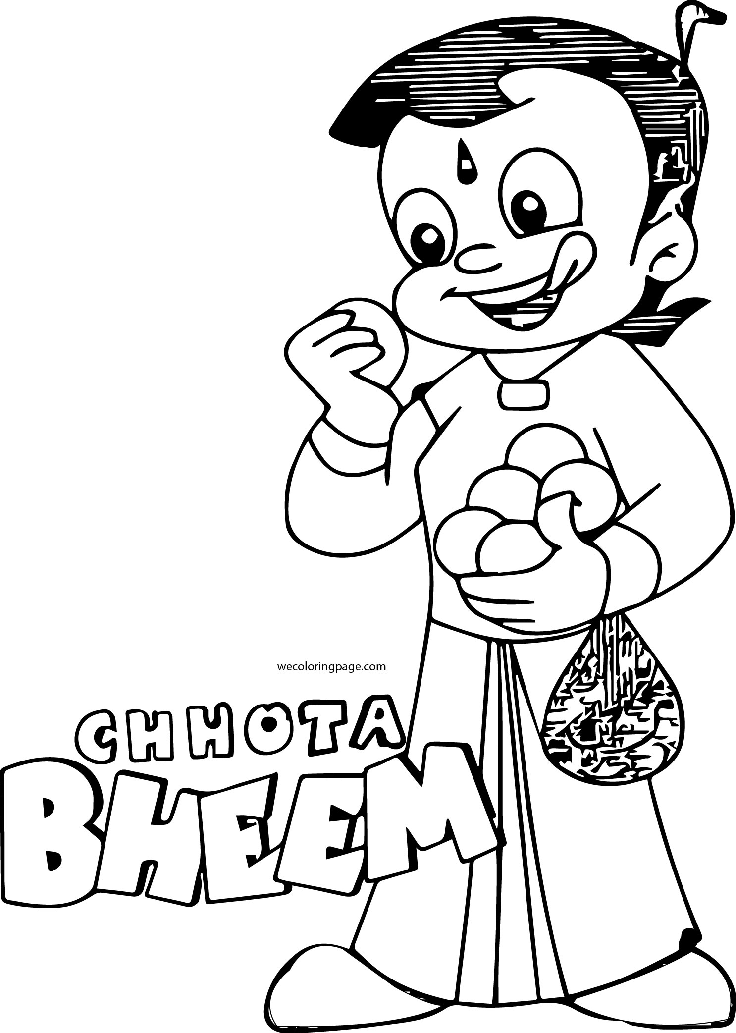 Chhota Bheem Eat Apple Coloring Page46