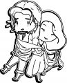 Chibi Flynn And Rapunzel Wrapped Around Coloring Page