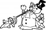 Chip Dale Snow Man Coloring Page