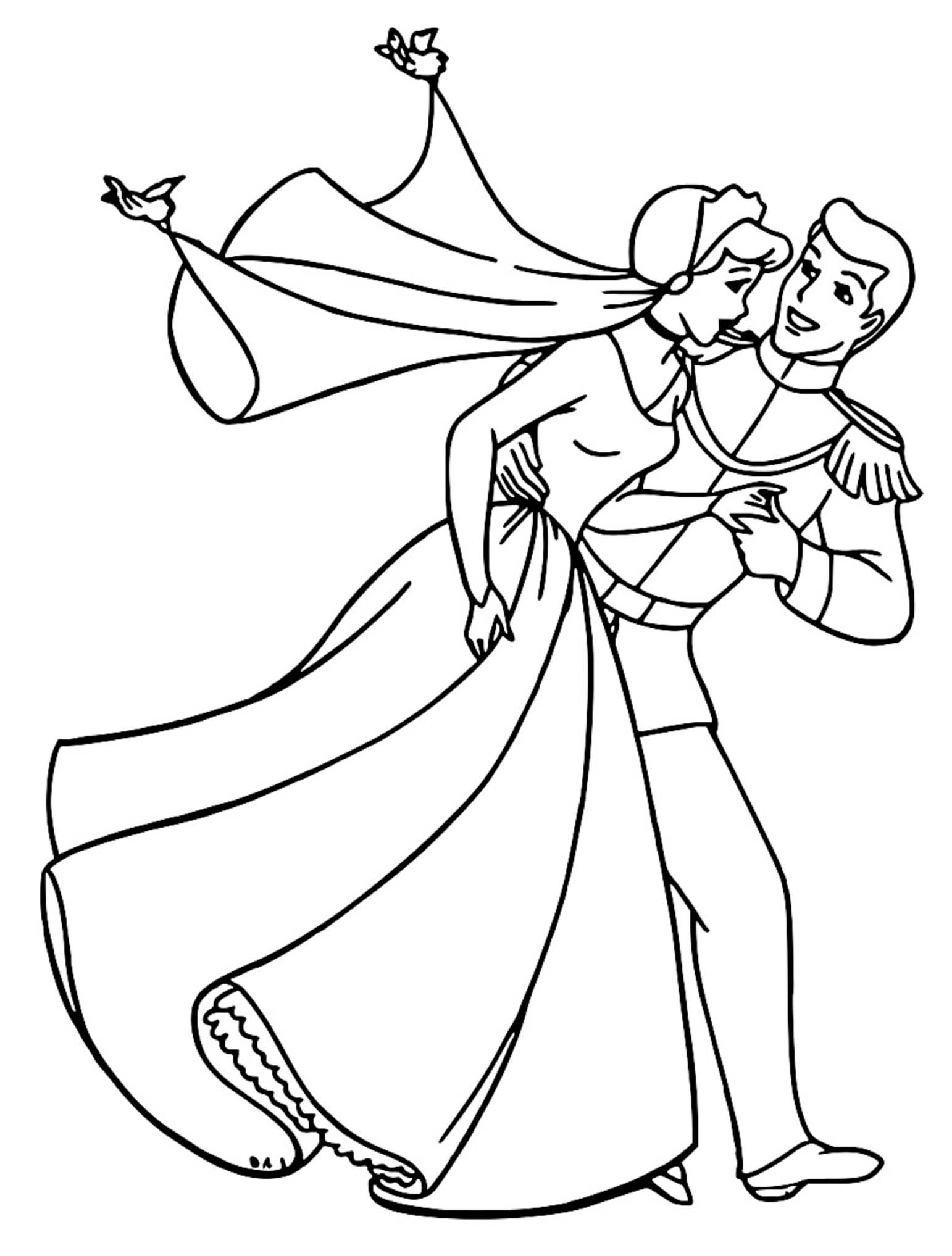 Cinderella And Prince Charming Coloring Pages 11