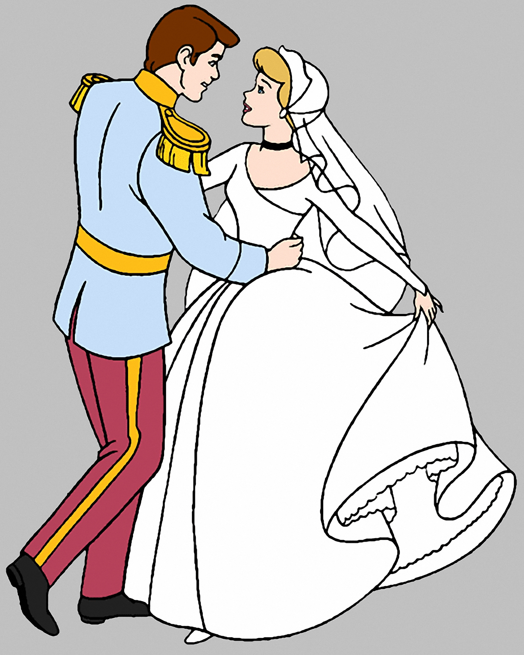Cinderella and Prince Charming Coloring Pages 01