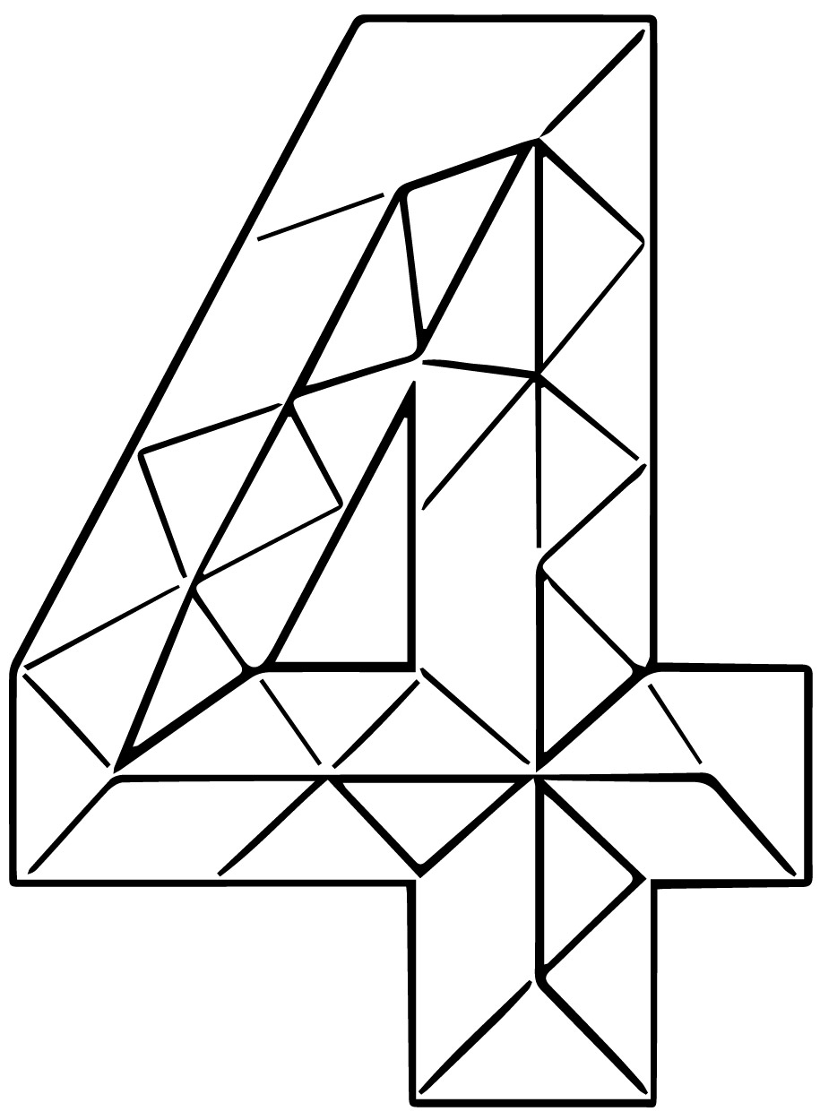 Colourful Triangles Number Four Coloring Page