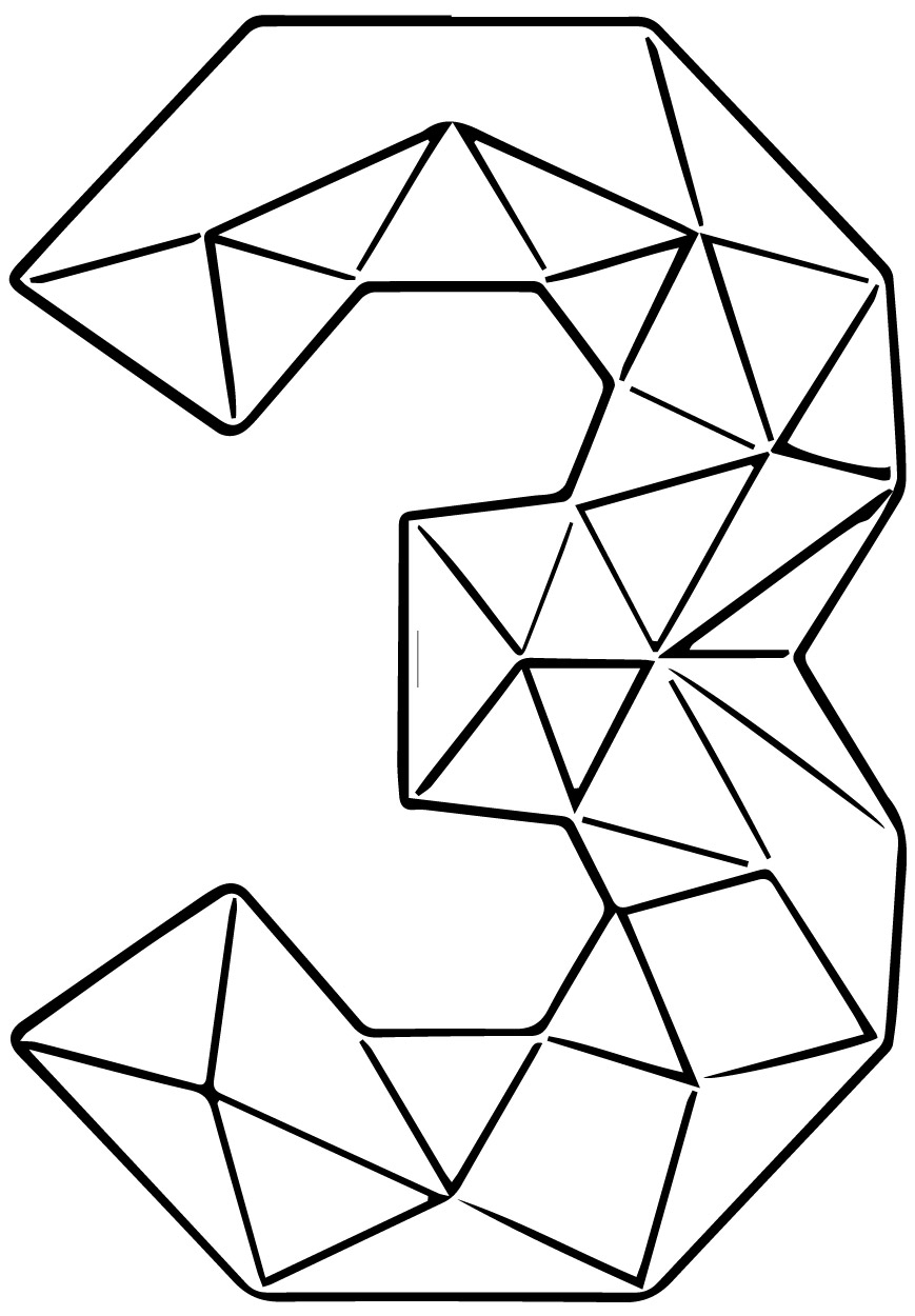 Colourful Triangles Number Three Coloring Page
