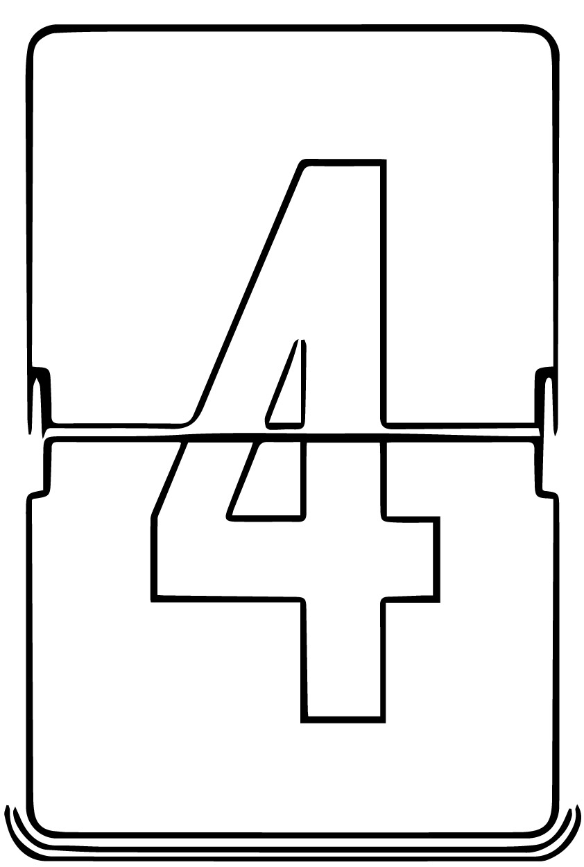 Counter Number Four Coloring Page