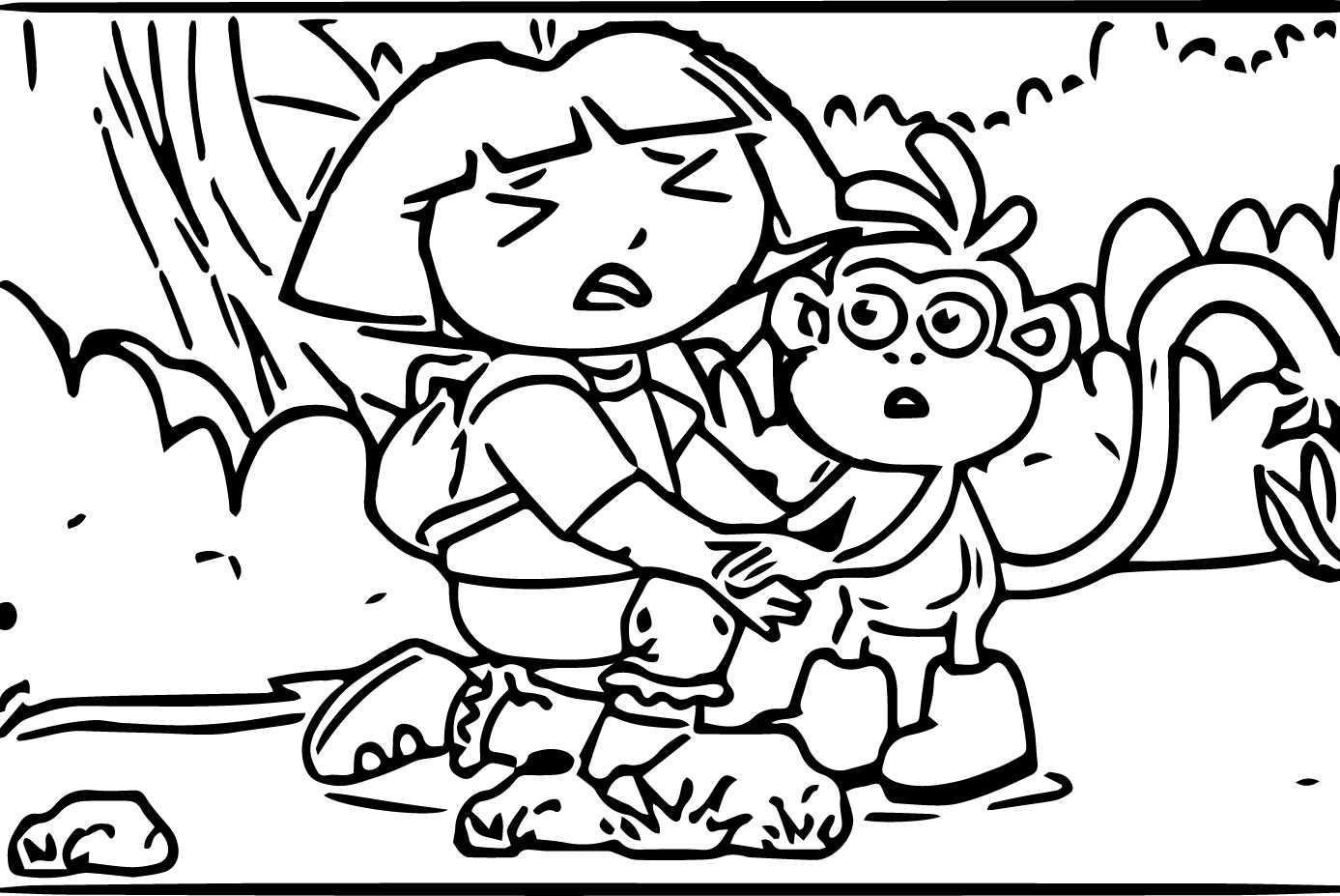 Cry Dora And Monkey Her Morale Coloring Page