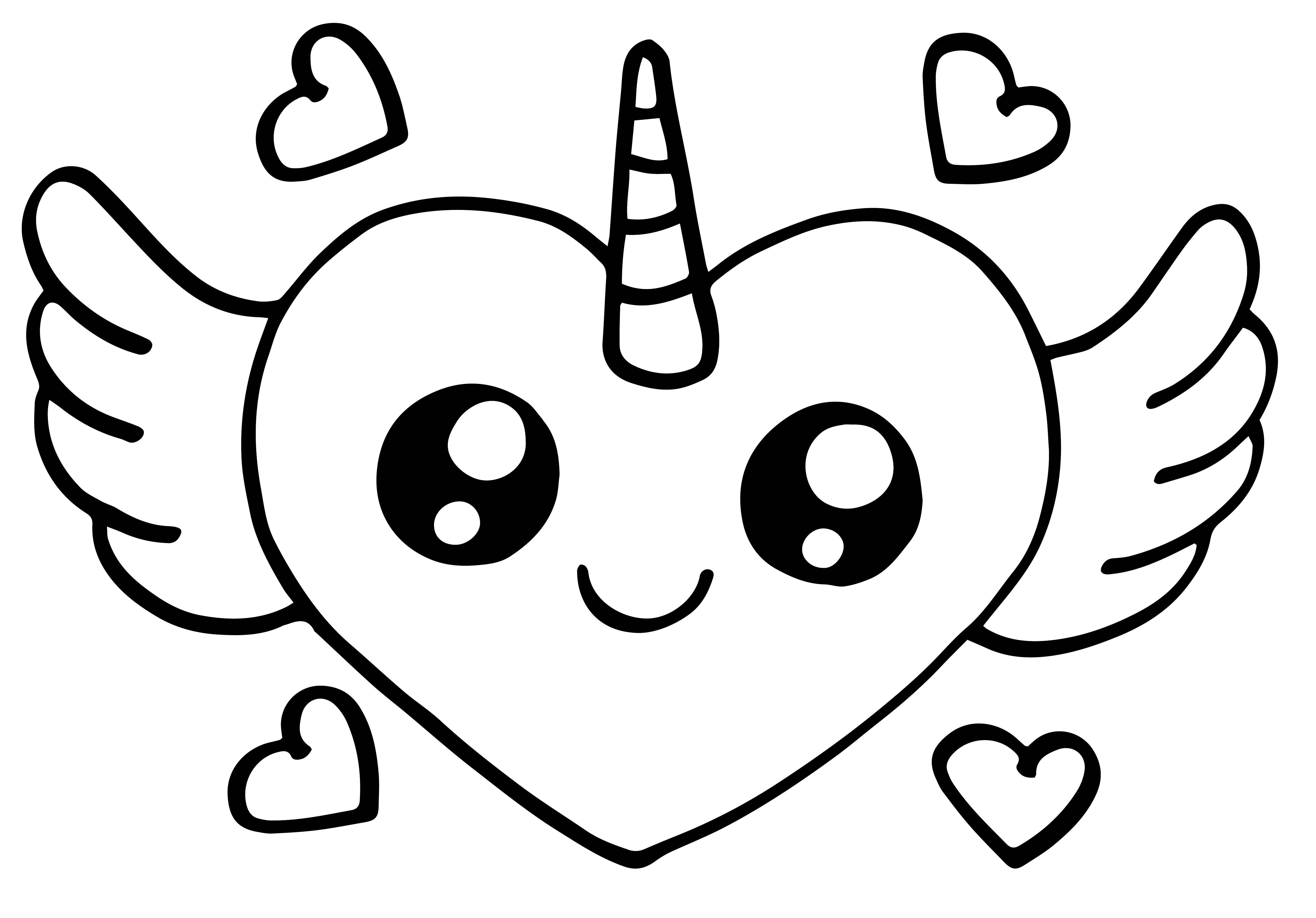Cute Heart Pegasus Chibi Angel Coloring Page