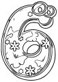 Cute Number Six Coloring Page