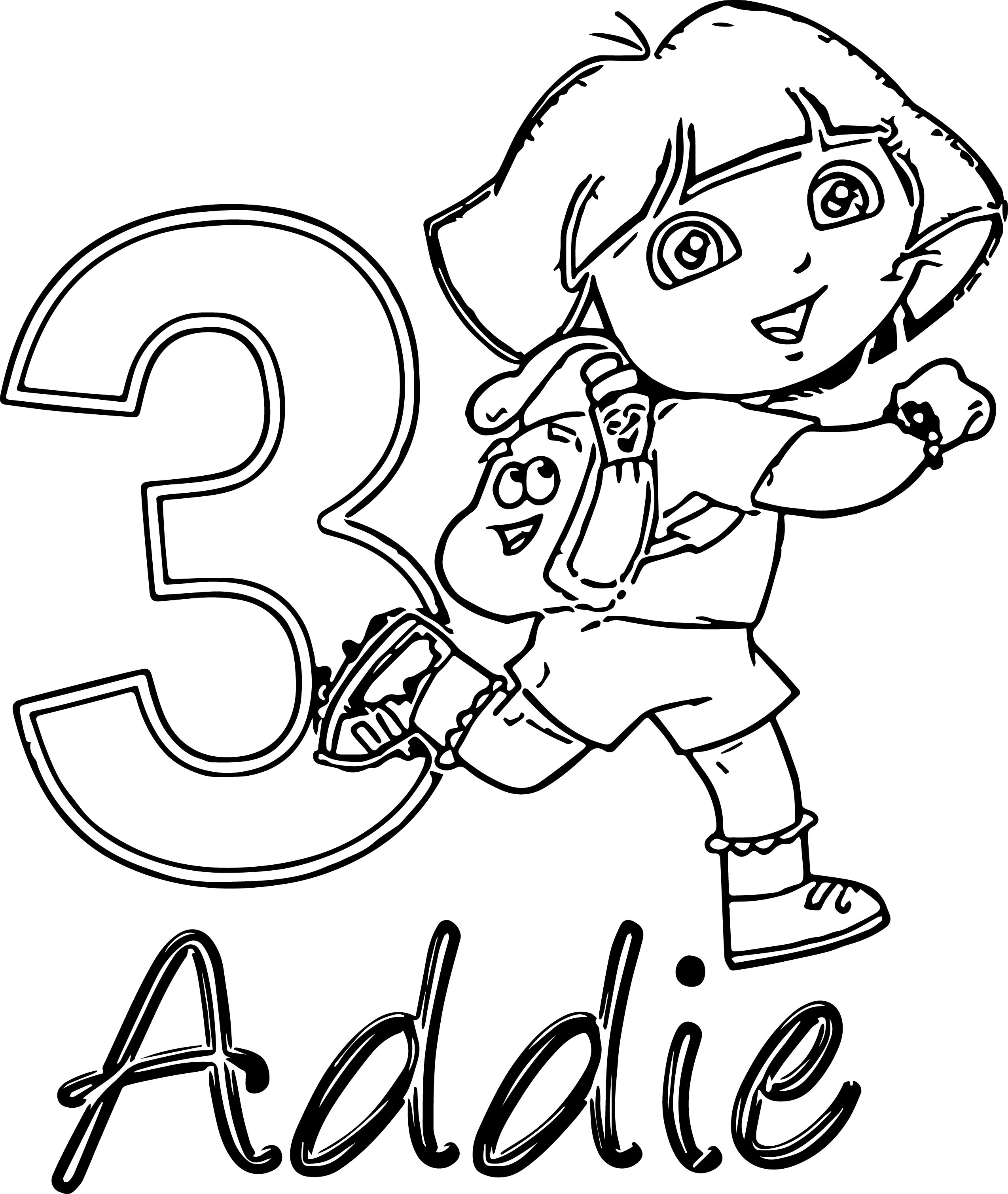 Dora 3 Addie Coloring Page