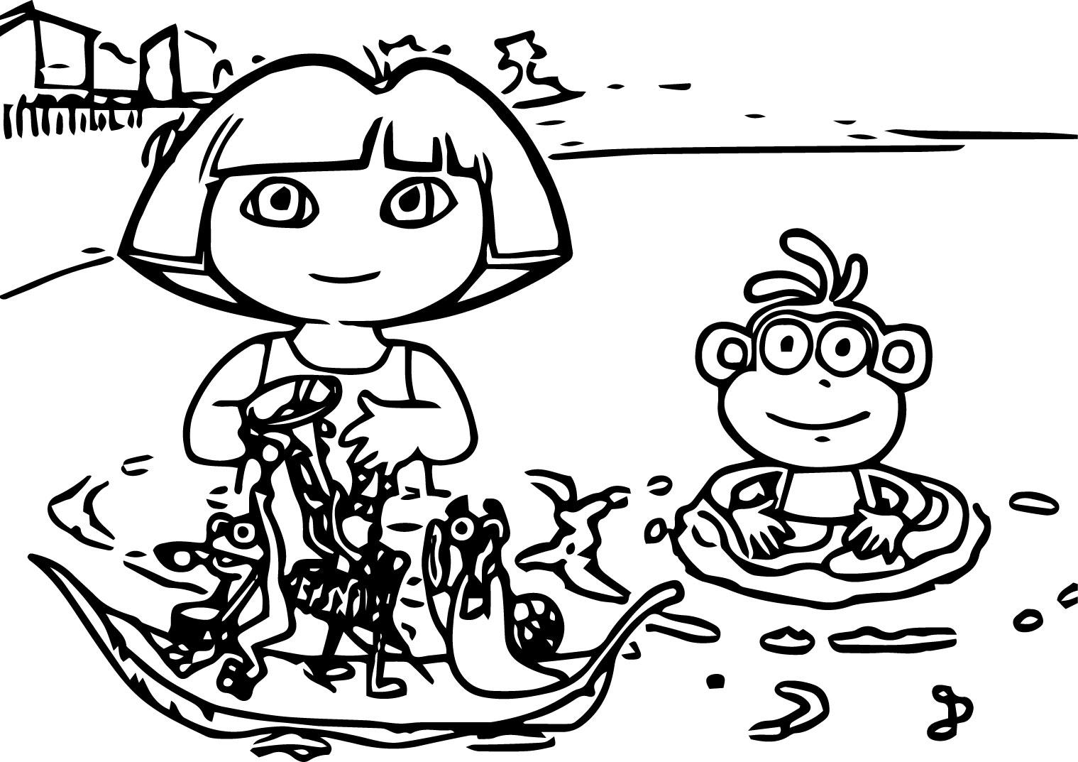 Dora Find Floatie Games Coloring Page