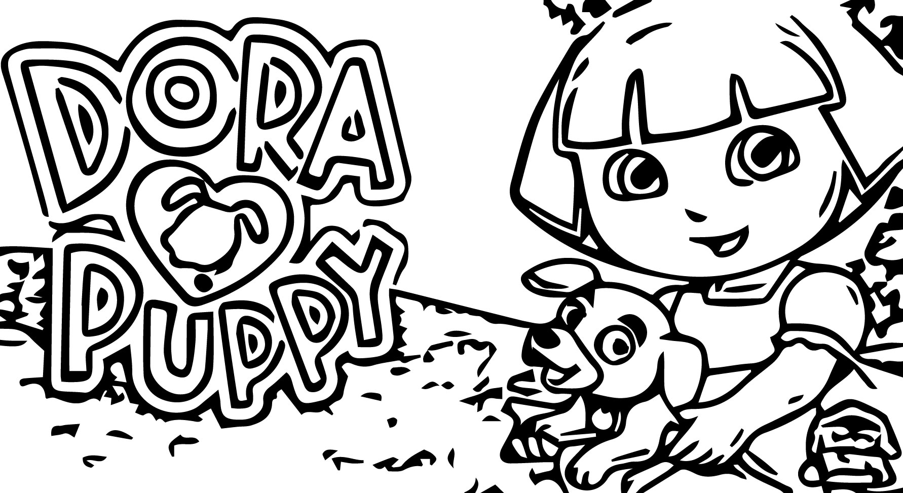 Dora Loves Puppy Coloring Page