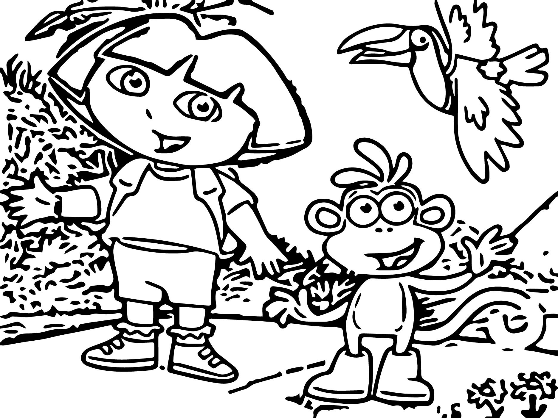 Dora The Explorer And Her Monkey Bird Coloring Page