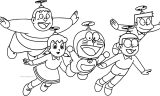 Doraemon Bratz And Friends Flying Coloring Page