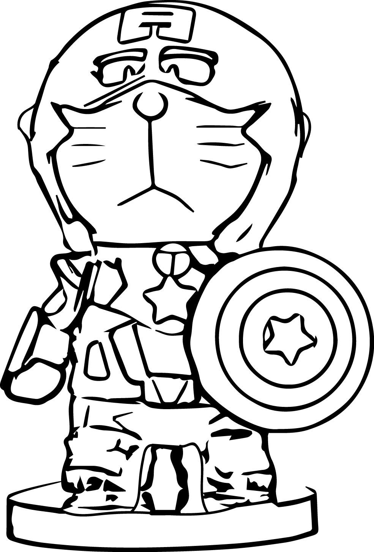 Doraemon Cosplay Captain America Coloring Page