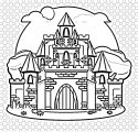 Drawing Illustration Fairy Tale Cartoon Castle Coloring Page