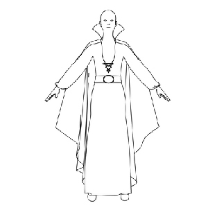 Dress with Cloak Woman Coloring Page