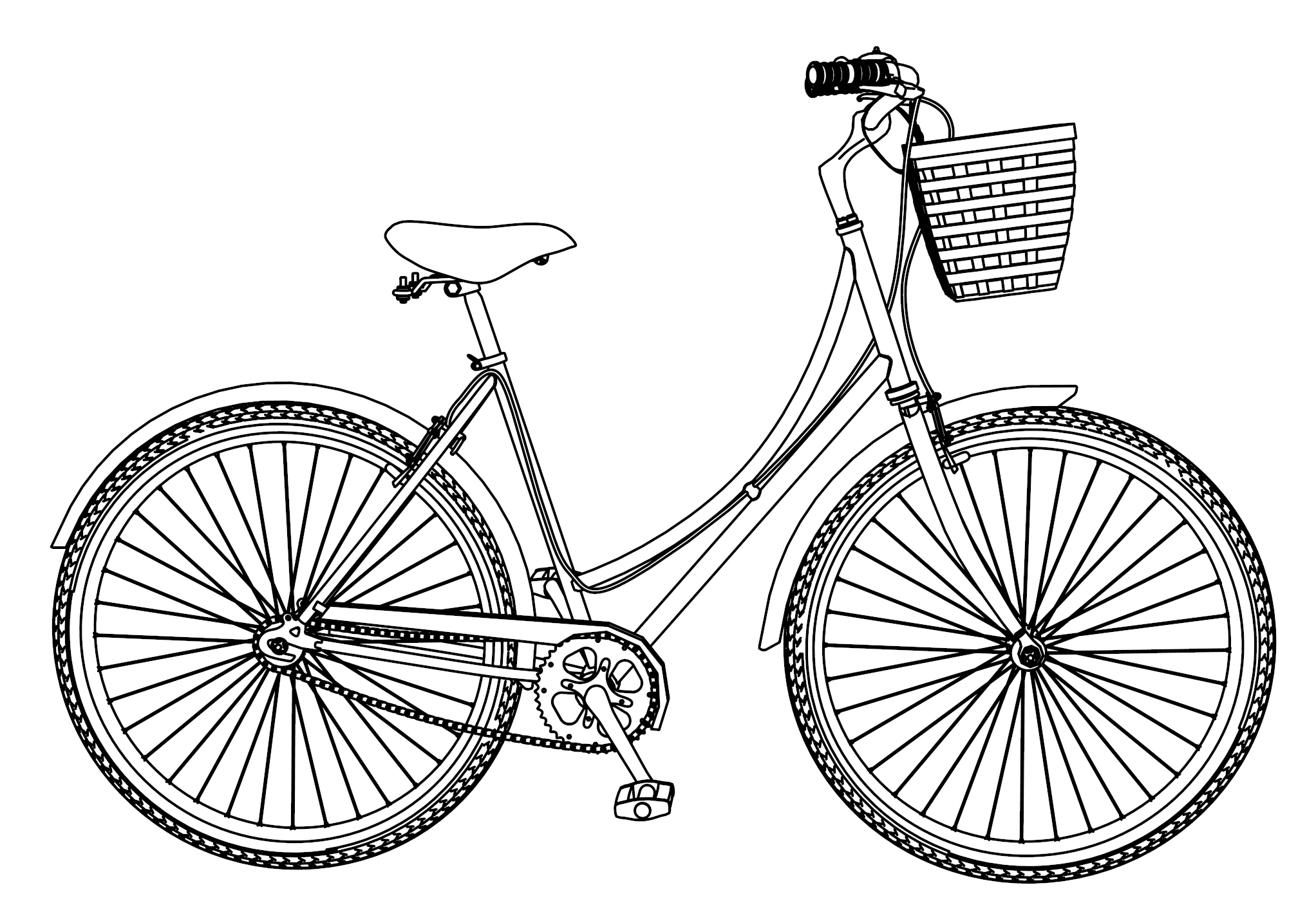 Dutch Bicycle Coloring Page