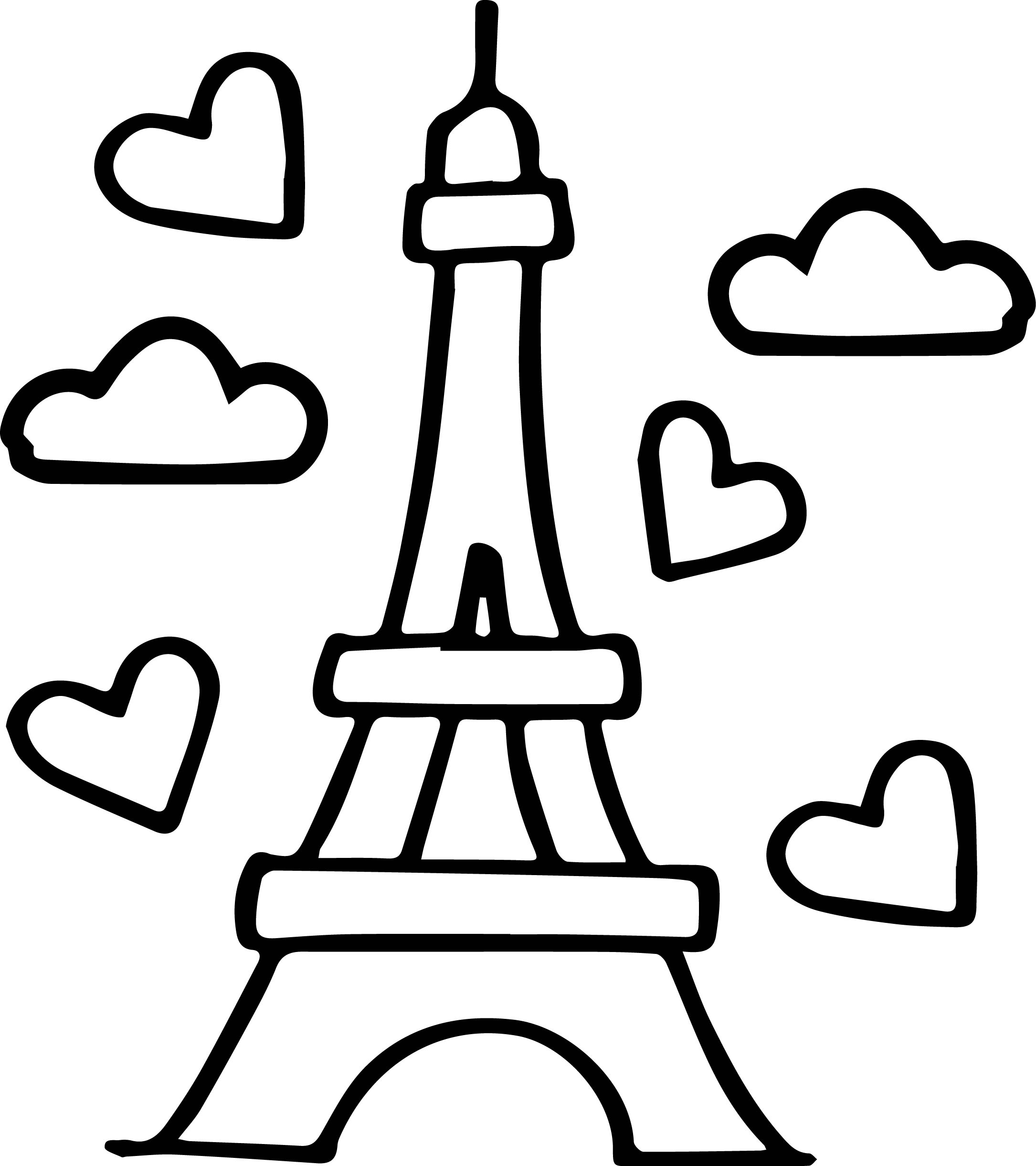 Eiffel Tower Easy Coloring Page