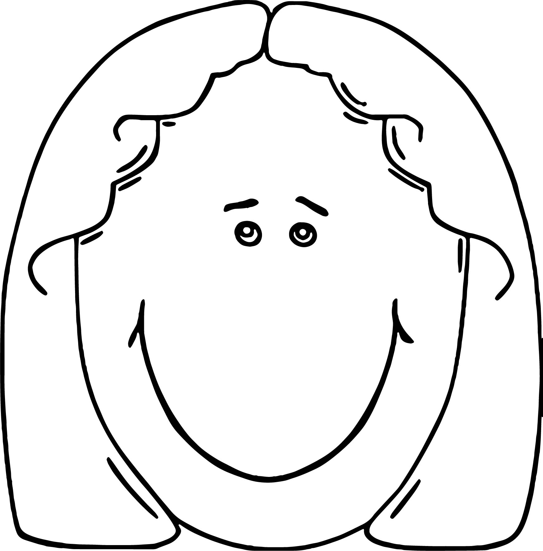 Face Lady Face Cartoon Clip Art Coloring Page (2)