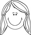 Face Smiling Girl Face Clip Art Coloring Page (2)