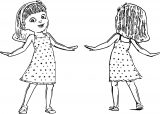 Front And Back View Cute Girl Coloring Page