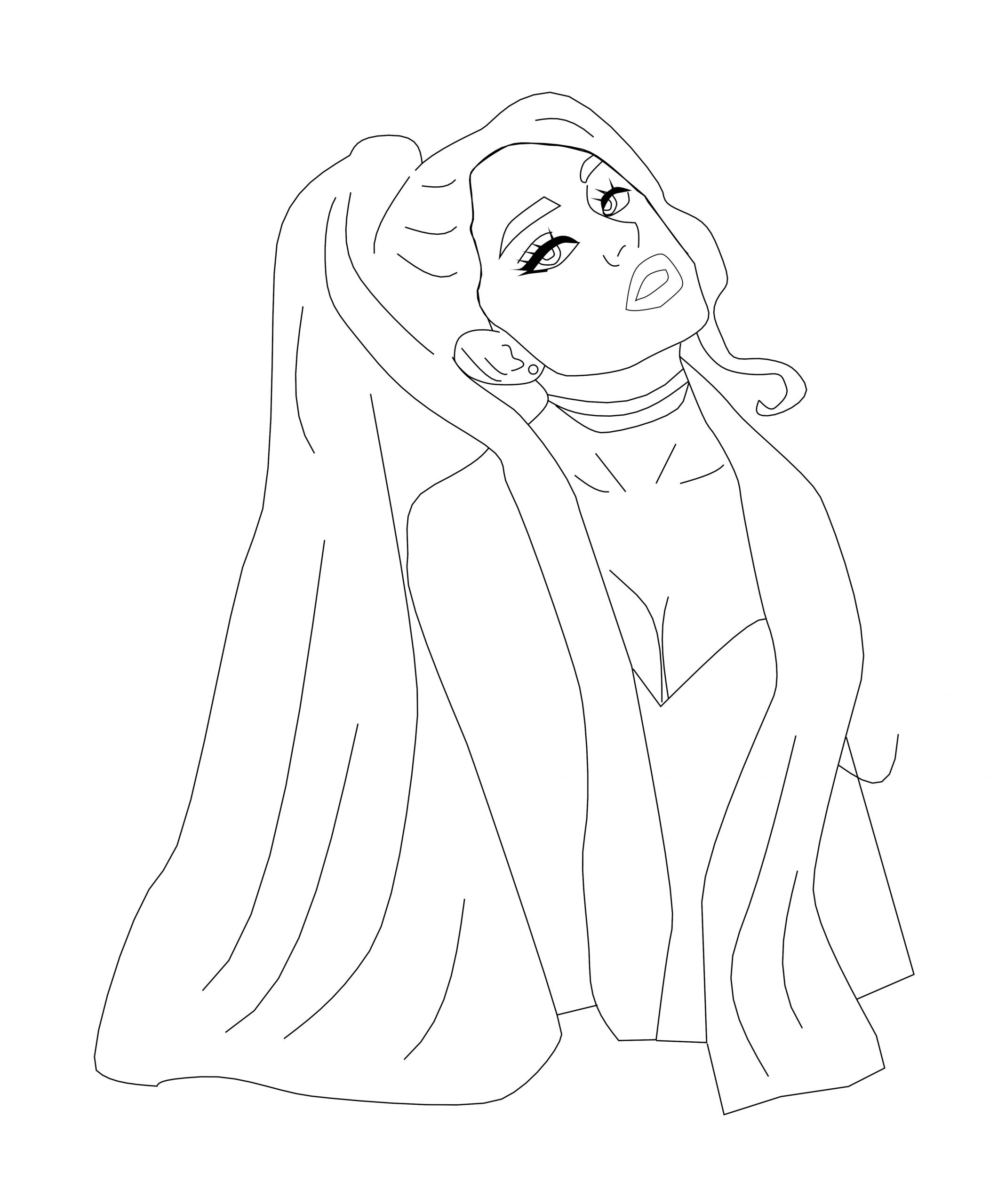 Front Girl Coloring Page