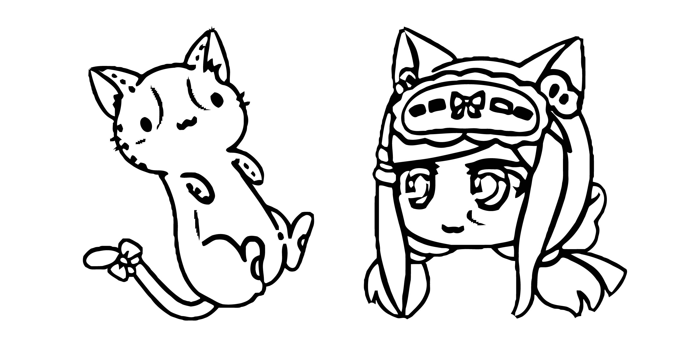 Gacha Life Senpai Sand Kitty Plushie Pack Coloring Page