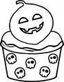 Halloween Cupcake Coloring Page 02