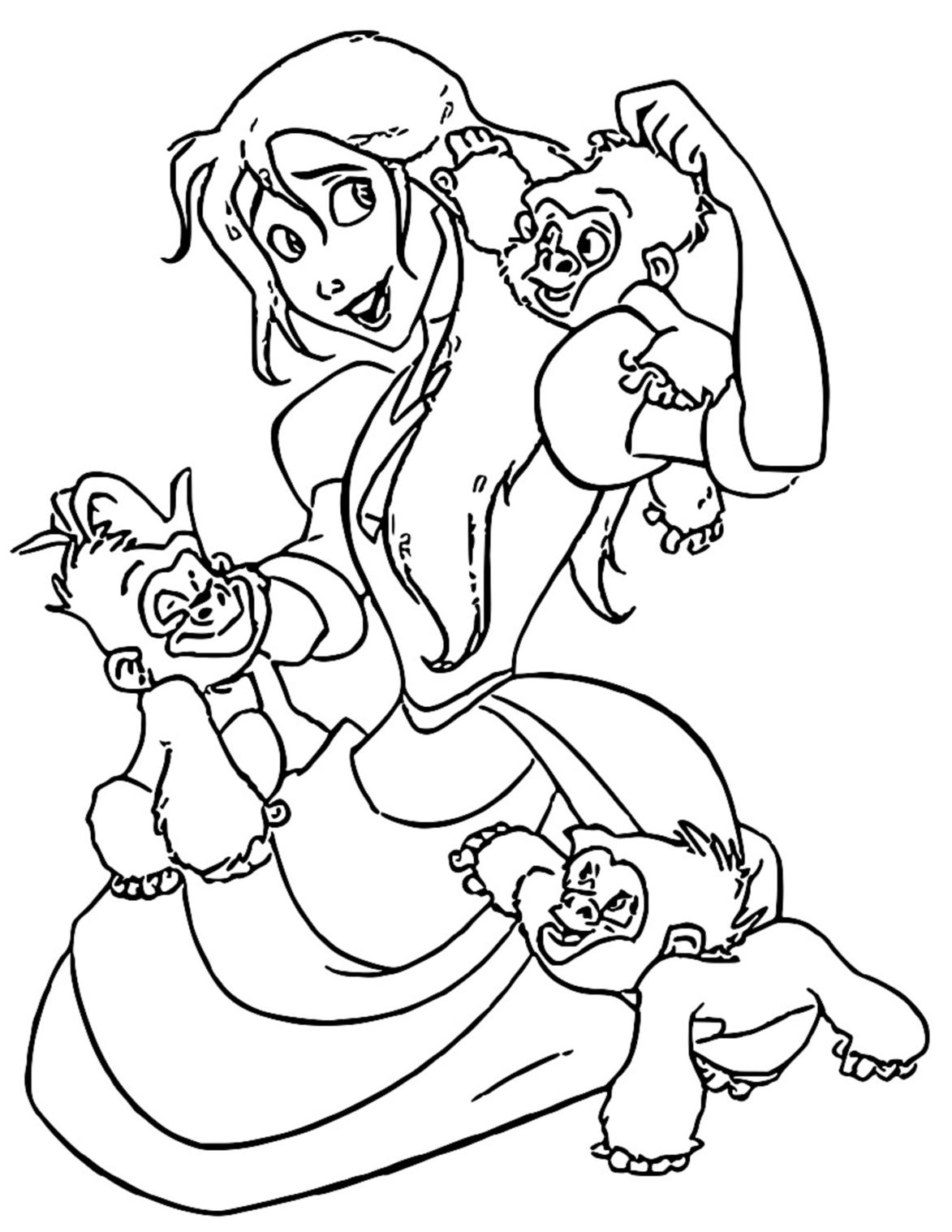 Jane Monkeys Coloring Page