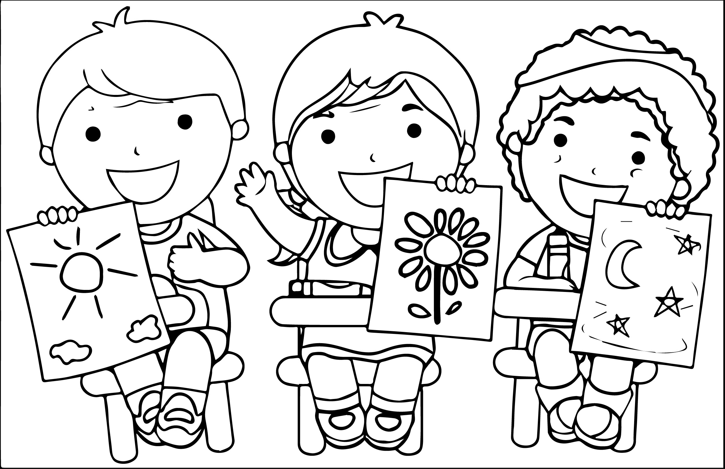 Kids Holding Copycat Pictures Kids Coloring Page