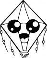 Kite Chibi Face Coloring Page