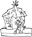 Little Pig Cleaning Home Coloring Page