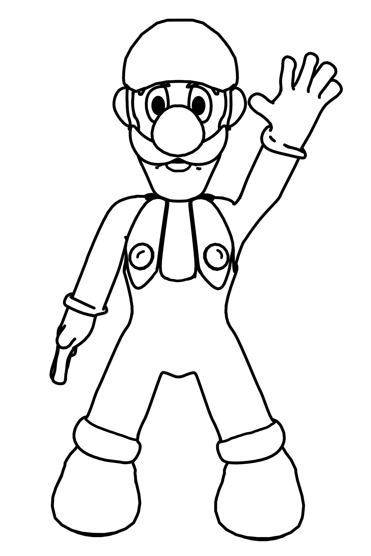 Luigi Hi Coloring Page