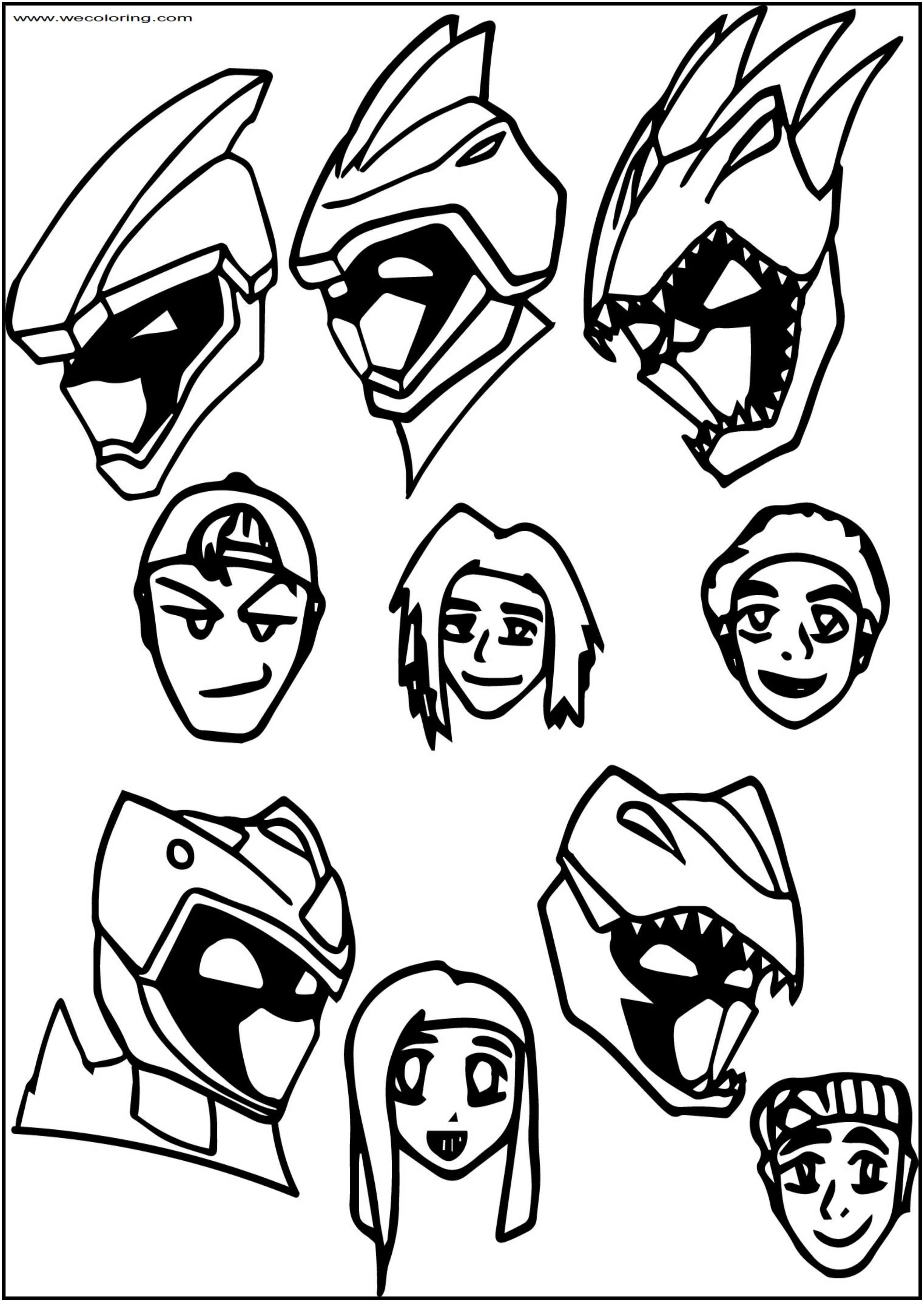 Magna Dino Power Rangers Charge Heads Free Printable Coloring Page