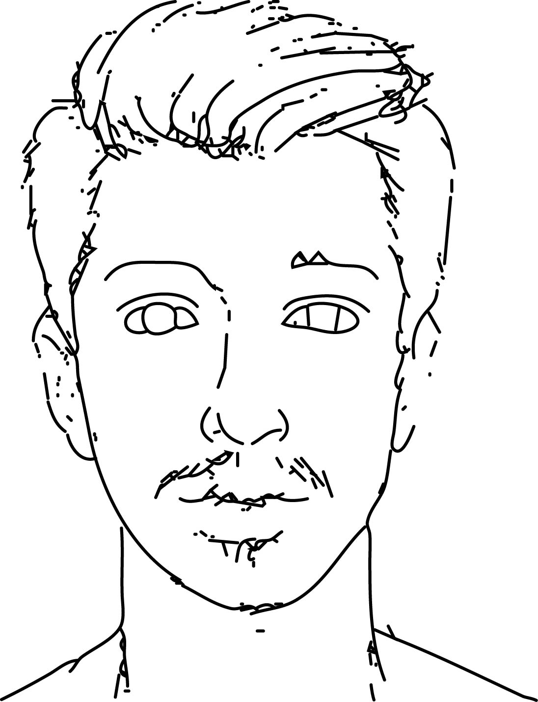 Man Face Style Draw Coloring Page