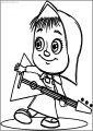 Mawa Kawa Masha Music Free A4 Printable Coloring Page