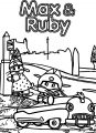 Max And Ruby Car Driving Coloring Page