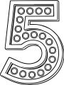 Number Five With Lights Coloring Page