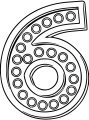 Number Six With Lights Coloring Page
