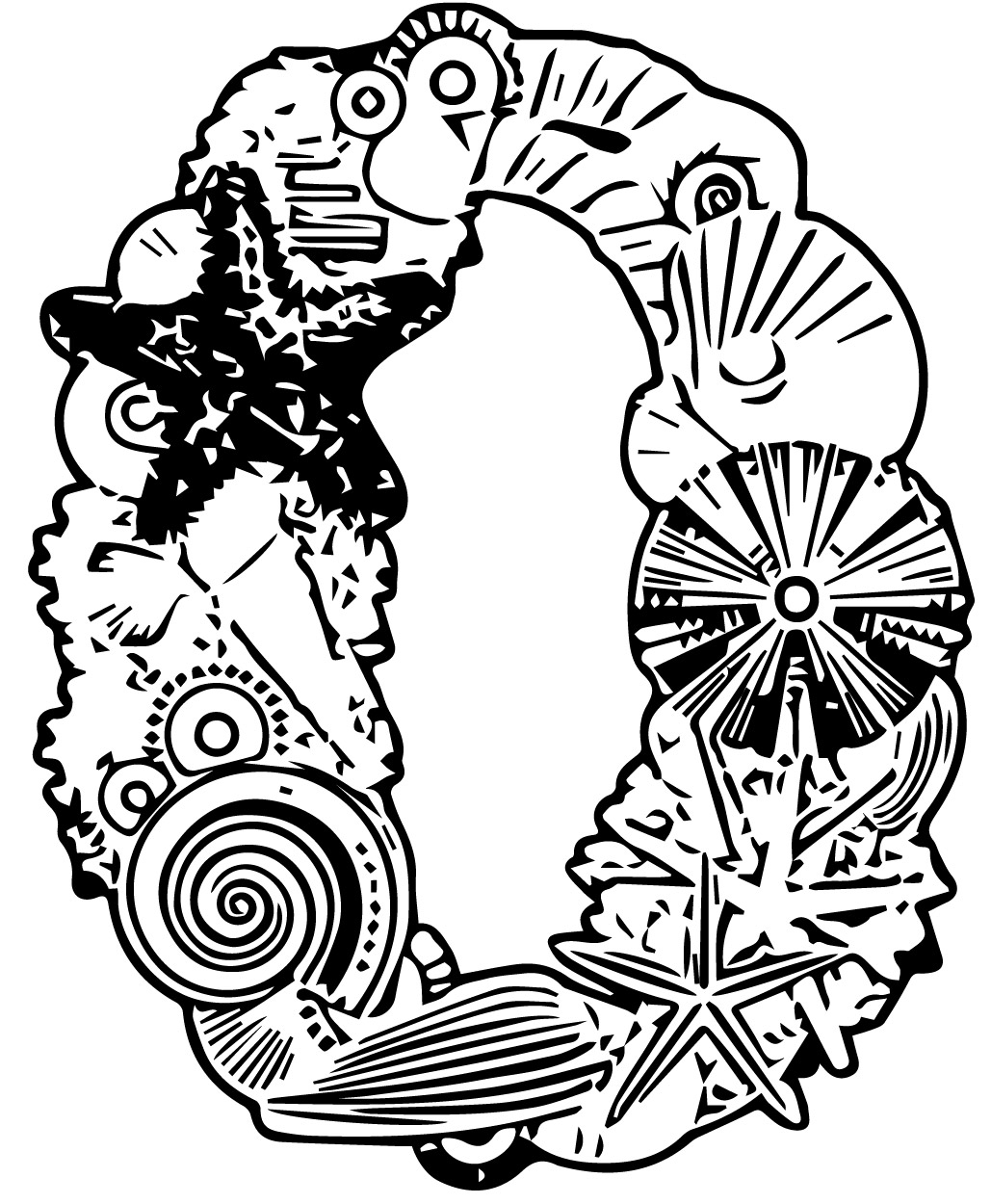 Number Zero Sea Style Coloring Page