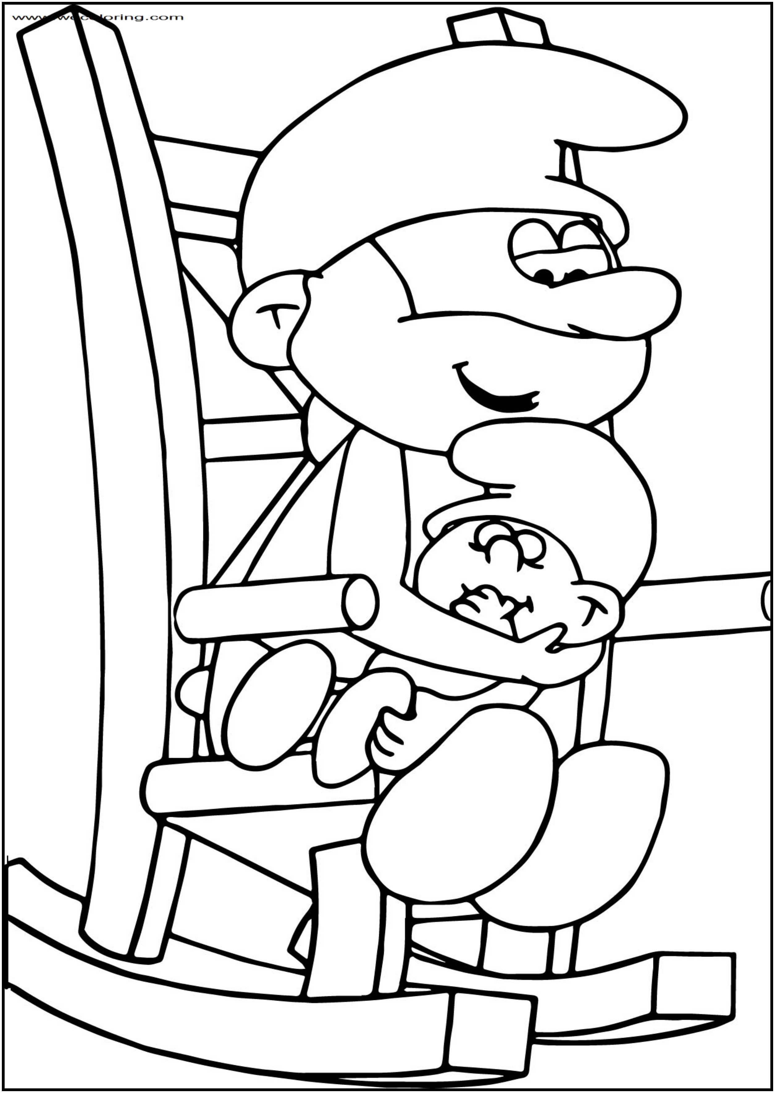 Papa Smurf And Ba Smurf Super Schtroumpf Free Printable Coloring Page