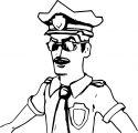 Police Man Happy Coloring Page