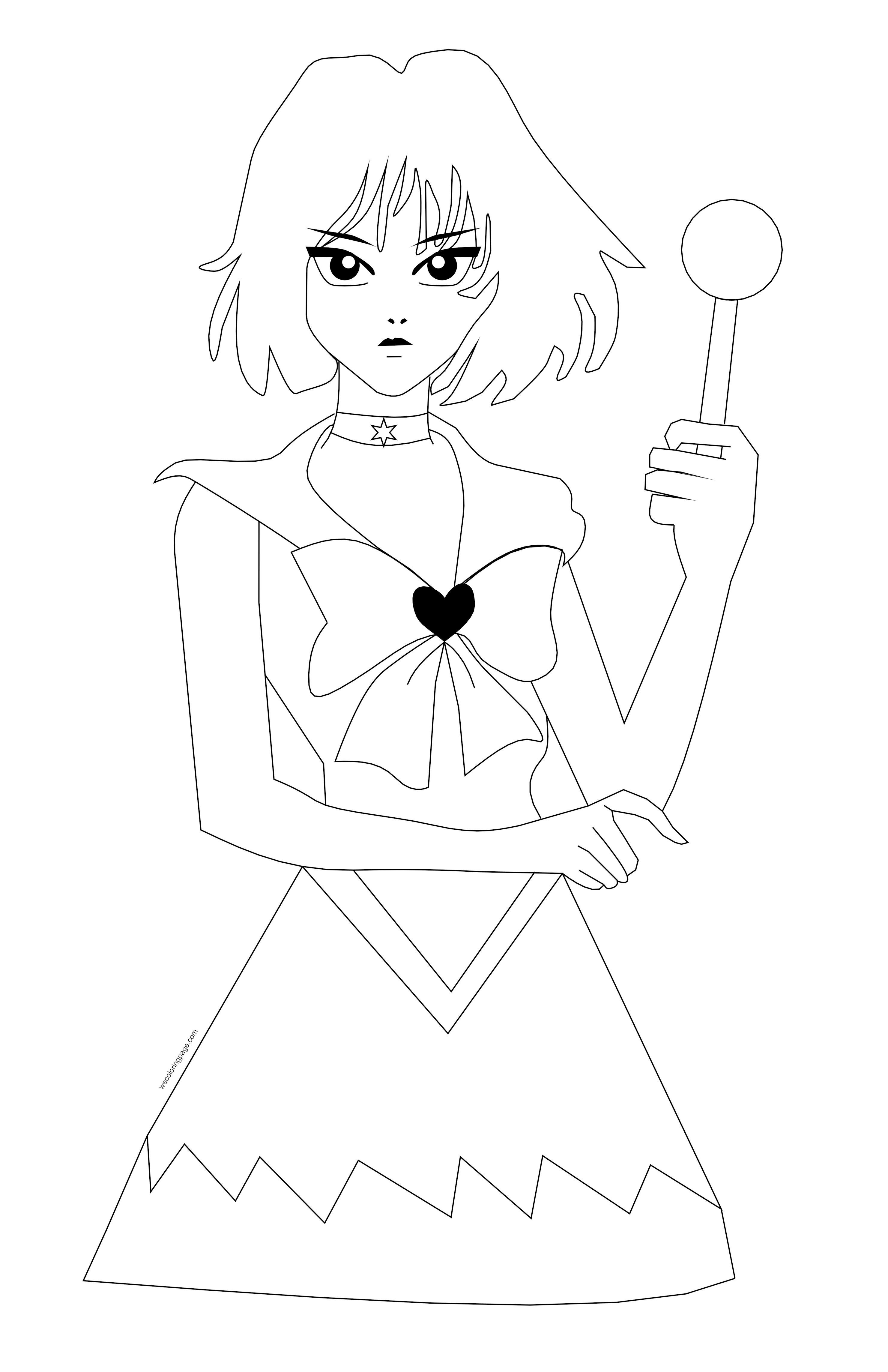 Princess Manga Girl Magic Stick Coloring Page