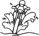Racing on the dirty road coloring page