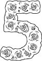 Roses Number Five Coloring Page