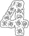Roses Number Four Coloring Page