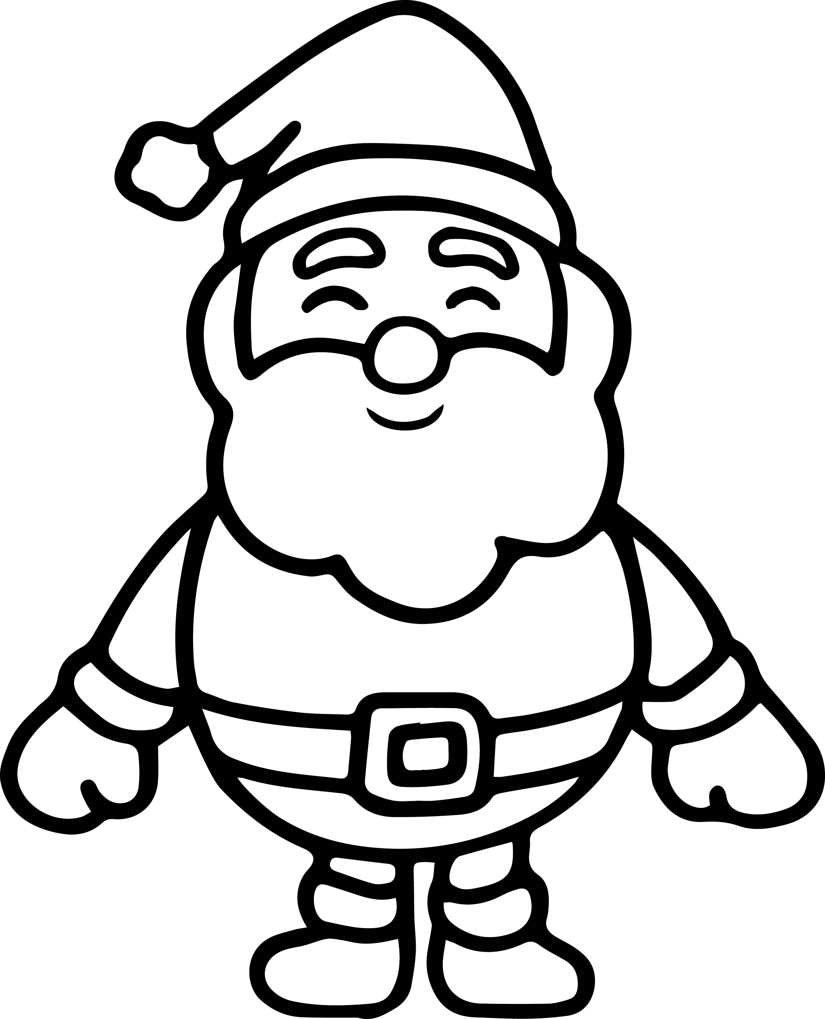 Santa Claus Very Cute Small Coloring Page