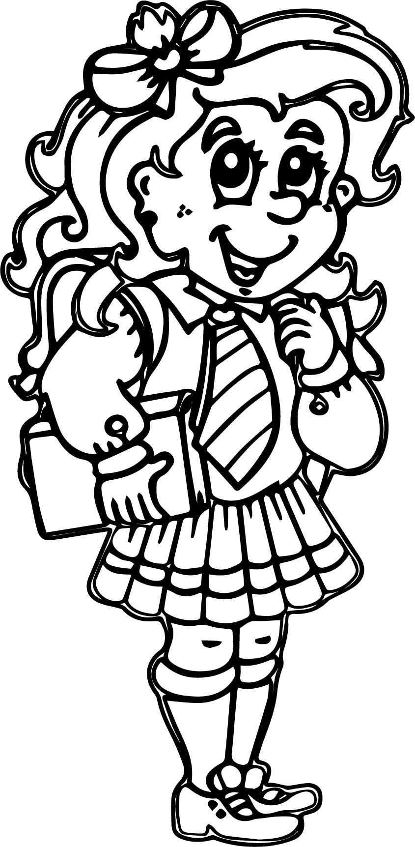 School Beautiful Girl Coloring Page