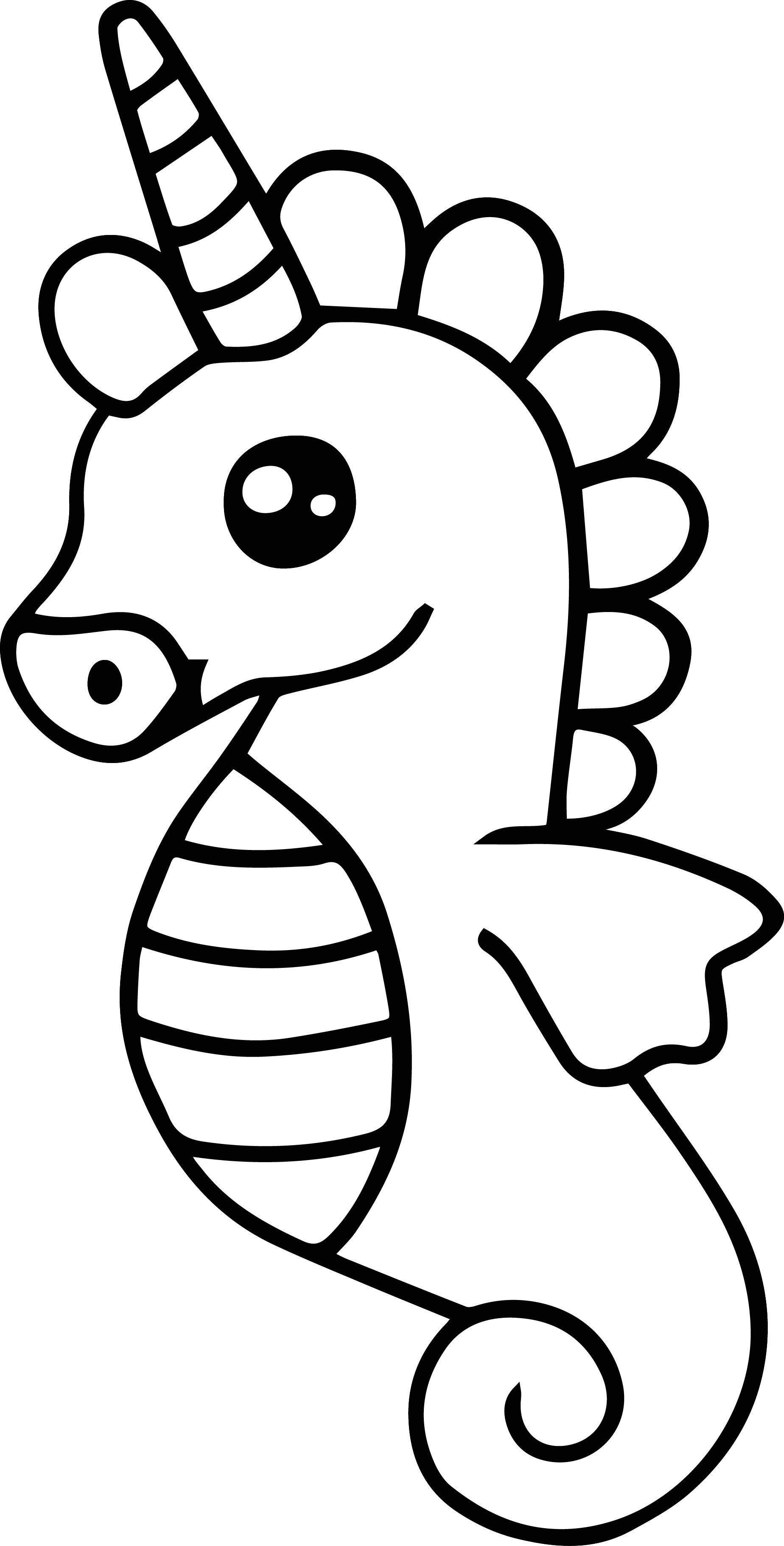 Sea Horse Easy Coloring Page