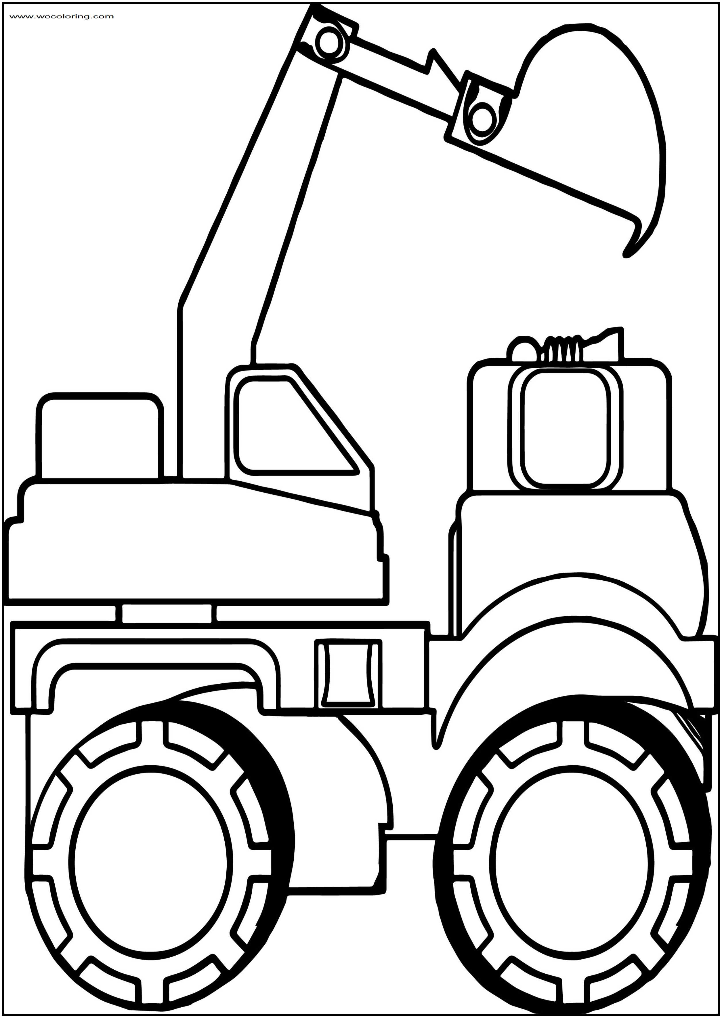 Side Bulldozer Truck Free Printable Coloring Page