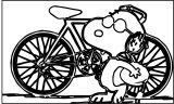 Snoopy Bike Coloring Page